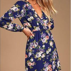 HONEY PUNCH | Wrap Navy Blue Floral Print Dress